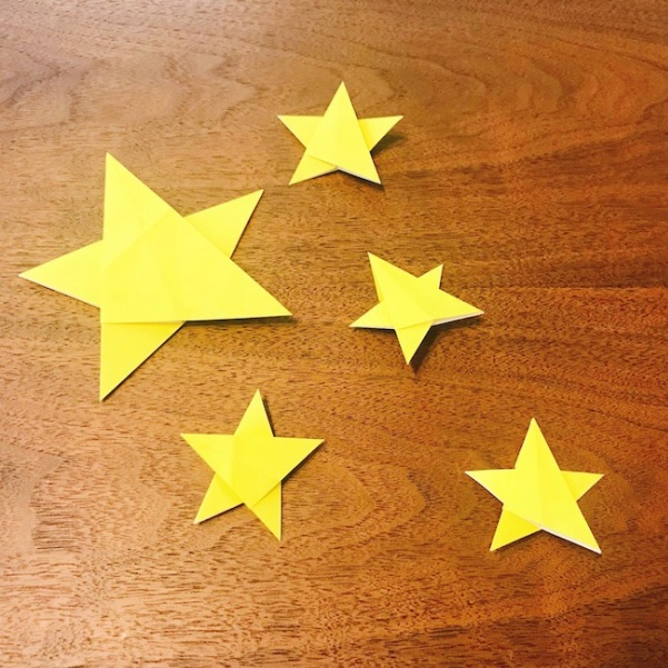 折り紙1枚で折った平面の星