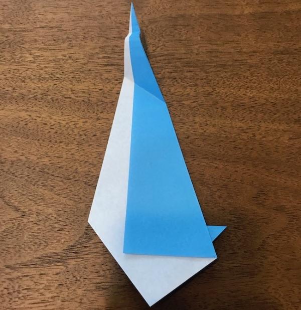 折り紙ペンギン立体の作り方・手順10