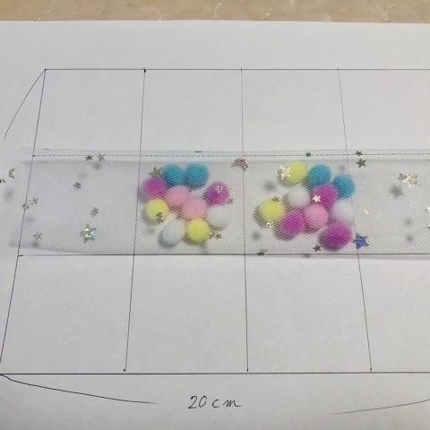 チュールリボンのヘアゴムの作り方3