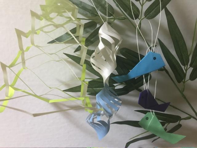 七夕飾りの貝殻つなぎ・投網・魚