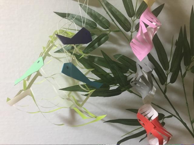 七夕飾り 折り紙の投網・魚・貝殻つなぎ