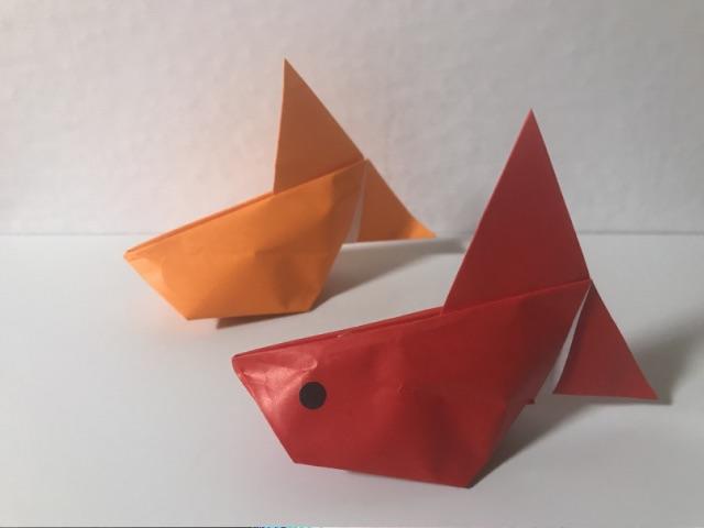 ぷっくり金魚の折り紙
